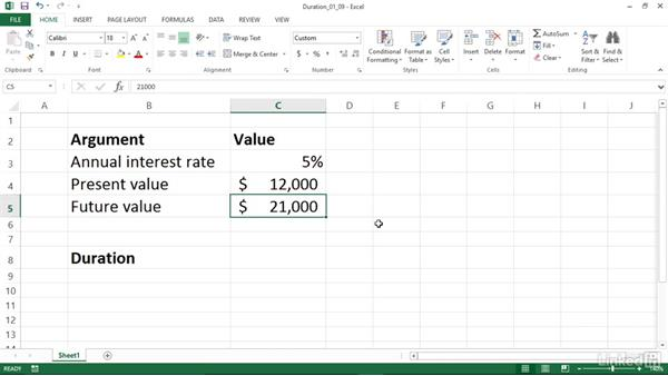 Calculating the number of periods to reach a specified value (PDURATION): Excel 2013: Financial Functions in Depth