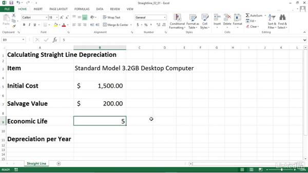 Calculating depreciation using the straight-line method (SLN): Excel 2013: Financial Functions in Depth