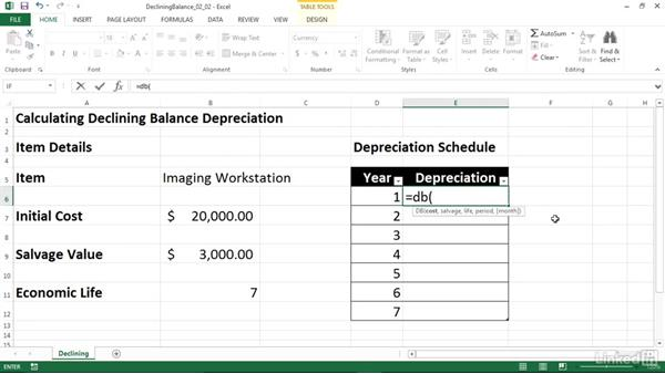 Calculating depreciation using the declining balance method (DB): Excel 2013: Financial Functions in Depth