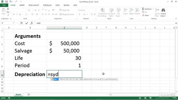 Calculating depreciation using sum of years method (SYD): Excel 2013: Financial Functions in Depth