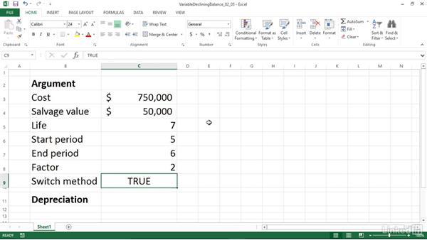 Calculating declining balance depreciation for a partial period (VDB): Excel 2013: Financial Functions in Depth