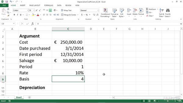 Calculating depreciation using a depreciation coefficient (AMORDEGRC): Excel 2013: Financial Functions in Depth