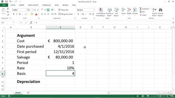 Calculating depreciation for each accounting period (AMORLINC): Excel 2013: Financial Functions in Depth