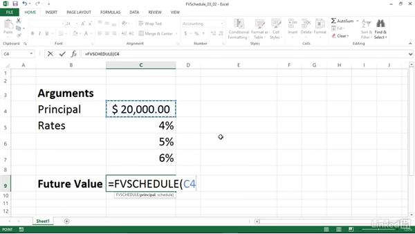 Calculating the future value of an investment with variable returns (FVSCHEDULE): Excel 2013: Financial Functions in Depth