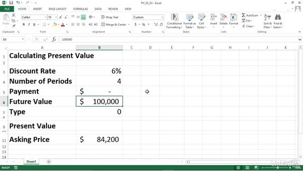 Calculating the present value of an investment (PV): Excel 2013: Financial Functions in Depth