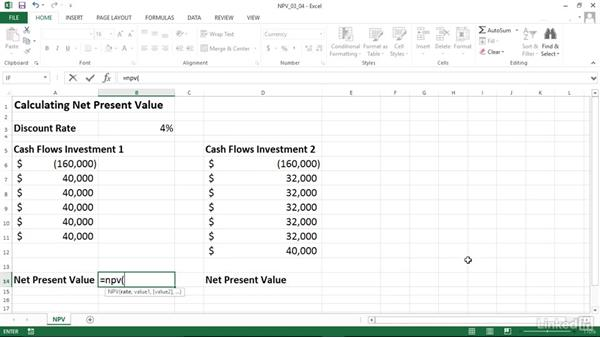 Calculating the net present value of an investment (NPV): Excel 2013: Financial Functions in Depth