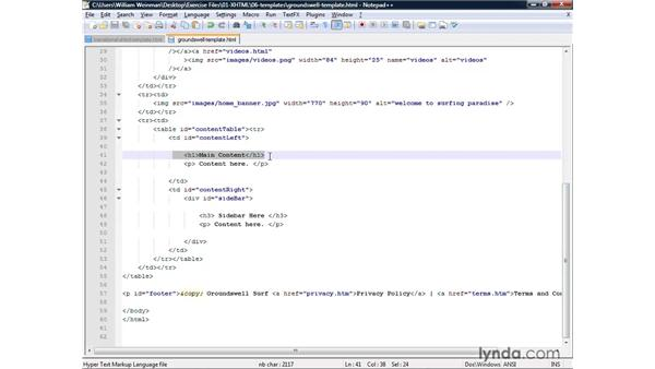 Creating and using templates: XHTML and HTML Essential Training