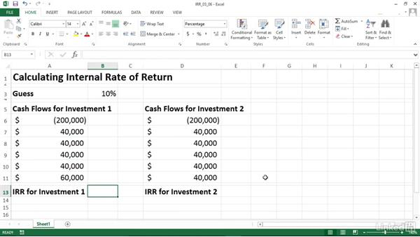 Calculating internal rate of return (IRR): Excel 2013: Financial Functions in Depth