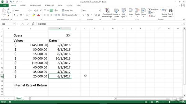 Calculating internal rate of return for irregular cash flows (XIRR): Excel 2013: Financial Functions in Depth