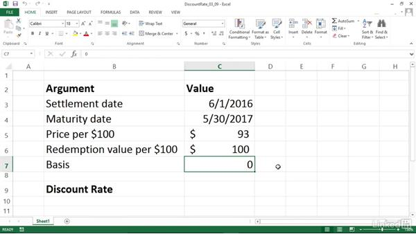 Calculating the discount rate of a security (DISC): Excel 2013: Financial Functions in Depth