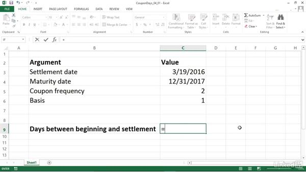 Calculating total days between coupon beginning and settlement (COUPDAYBS): Excel 2013: Financial Functions in Depth
