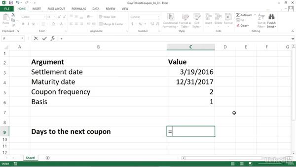 Calculating days from the settlement date to the next coupon date (COUPDAYSNC): Excel 2013: Financial Functions in Depth