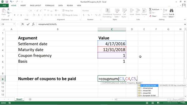 Calculating the number of coupons between settlement and maturity (COUPNUM): Excel 2013: Financial Functions in Depth