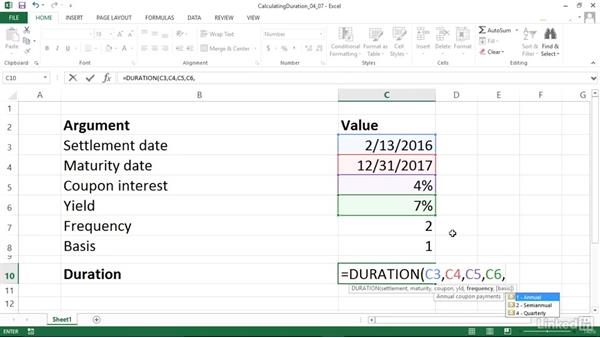 Calculating the annual duration of a security (DURATION): Excel 2013: Financial Functions in Depth