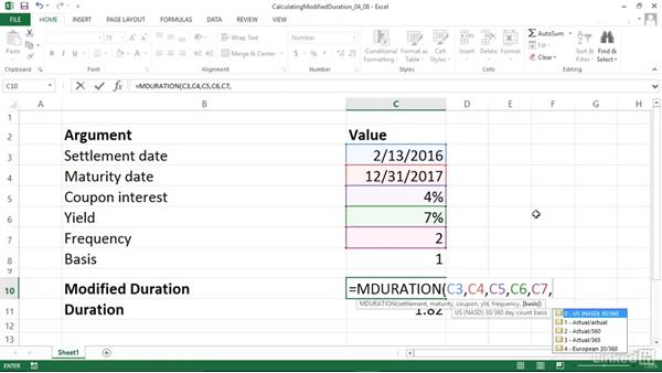 Calculating the duration of a security using the Macauley method (MDURATION): Excel 2013: Financial Functions in Depth
