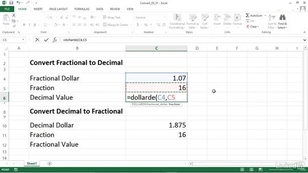 Converting between fractional prices and decimal prices (DOLLARDE and DOLLARFR): Excel 2013: Financial Functions in Depth