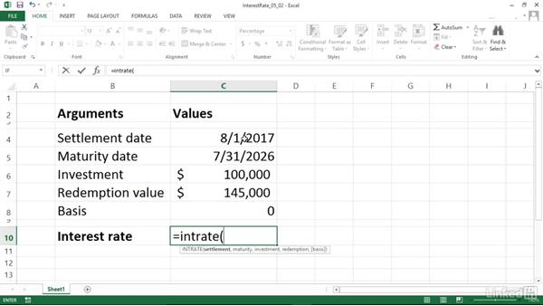 Calculating the interest rate of a fully invested security (INTRATE): Excel 2013: Financial Functions in Depth
