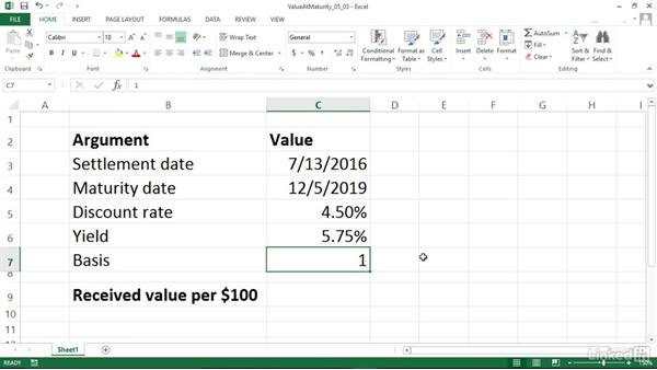Calculating the value at maturity of a fully invested security (RECEIVED): Excel 2013: Financial Functions in Depth