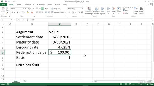 Calculating the price of a discounted security (PRICEDISC): Excel 2013: Financial Functions in Depth