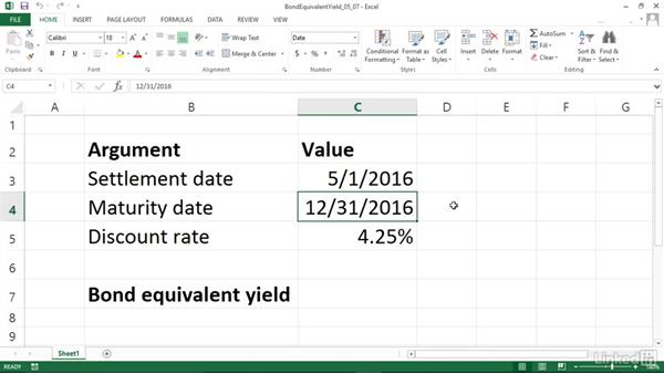 Calculating the bond-equivalent yield for a Treasury bill (TBILLEQ): Excel 2013: Financial Functions in Depth