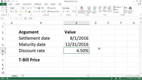 Calculating the price for a Treasury bill (TBILLPRICE): Excel 2013: Financial Functions in Depth