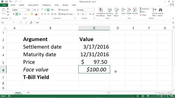 Calculating the yield of a Treasury bill (TBILLYIELD): Excel 2013: Financial Functions in Depth
