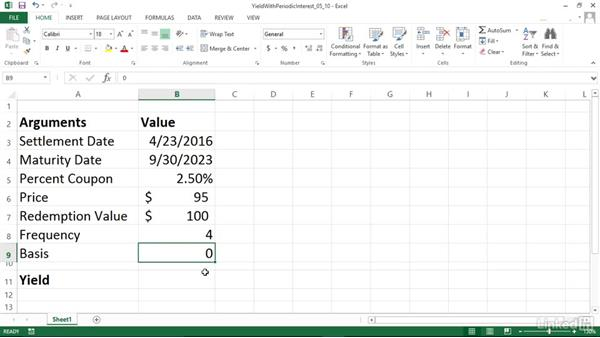 Calculating the yield of a security that pays periodic interest (YIELD): Excel 2013: Financial Functions in Depth