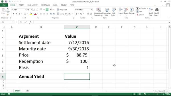 Calculating the annual yield for a discounted security (YIELDDISC): Excel 2013: Financial Functions in Depth