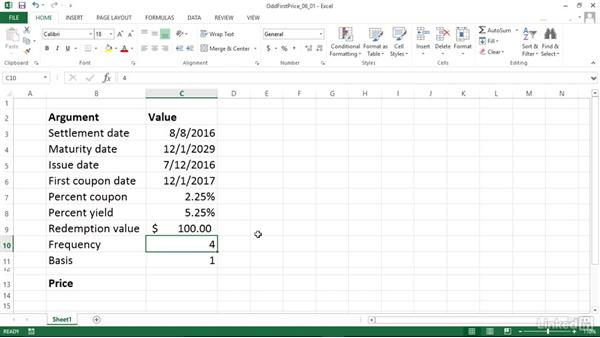 Calculating the price of a security with an odd first period (ODDFPRICE): Excel 2013: Financial Functions in Depth