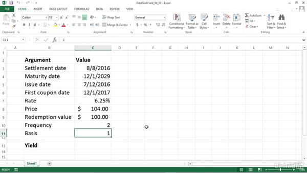 Calculating the yield of a security with an odd first period (ODDFYIELD): Excel 2013: Financial Functions in Depth