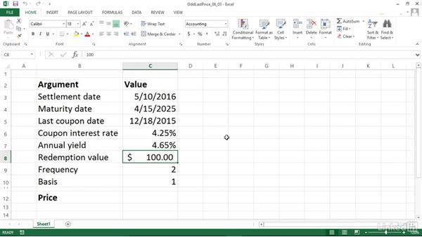 Calculating the price of a security with an odd last period (ODDLPRICE): Excel 2013: Financial Functions in Depth