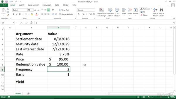 Calculating the yield of a security with an odd last period (ODDLYIELD): Excel 2013: Financial Functions in Depth
