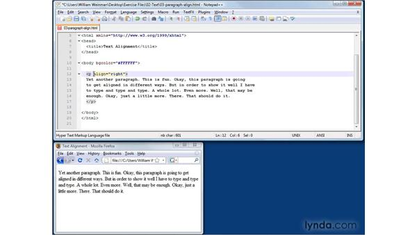 Aligning paragraphs: XHTML and HTML Essential Training