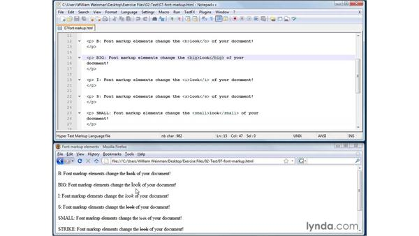 Formatting text with font markup elements: XHTML and HTML Essential Training