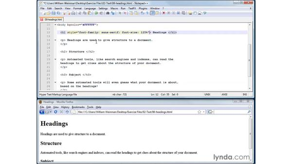 Adding document structure with headings: XHTML and HTML Essential Training