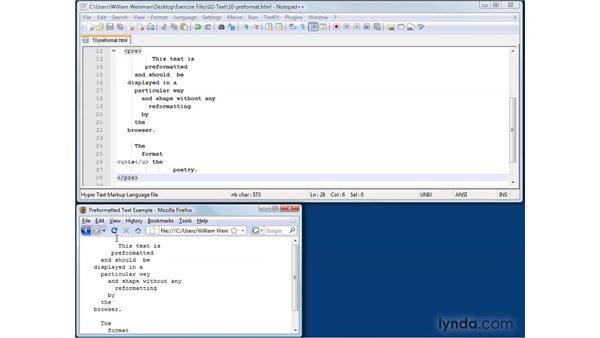 Preserving pre-formatted text: XHTML and HTML Essential Training