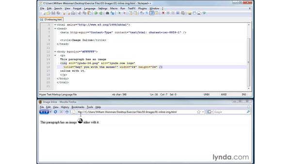 Using inline images: XHTML and HTML Essential Training