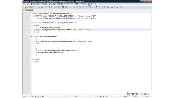 Specifying a base URL: XHTML and HTML Essential Training