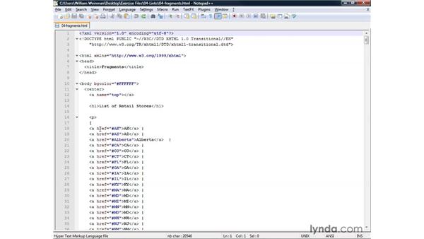 Linking within a page using fragments: XHTML and HTML Essential Training