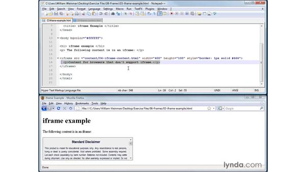 Creating inline frames using iFrame: XHTML and HTML Essential Training