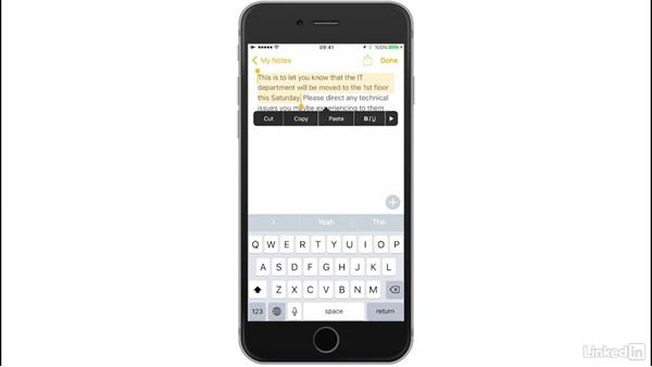 Cut, Copy, and Paste: iOS 10: iPhone and iPad Essential Training