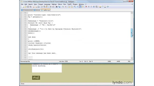 Using CGI with forms: XHTML and HTML Essential Training
