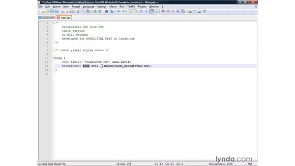 Building a document header: XHTML and HTML Essential Training