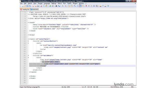 Laying out a main menu: XHTML and HTML Essential Training