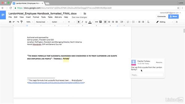 Adding and resolving comments: Google Docs Advanced Tips and Tricks