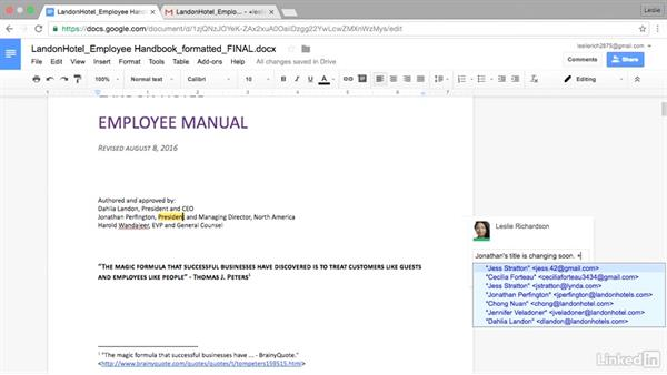Tag a specific person in a comment: Google Docs Advanced Tips and Tricks