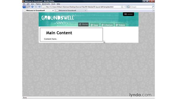 Creating a layout template: main body area: XHTML and HTML Essential Training
