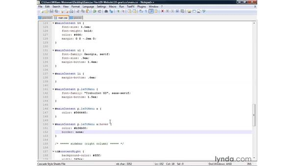 Creating a page with a menu, graphics, and formatted links: XHTML and HTML Essential Training