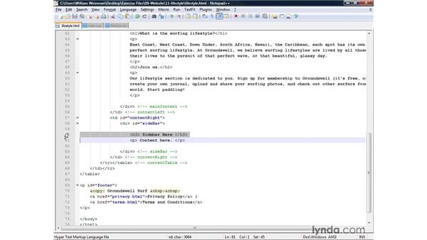 Creating a page containing an ordered list: XHTML and HTML Essential Training