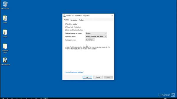 Taskbar visual properties and location: Customizing Windows 10 for Accessibility and Ease of Use